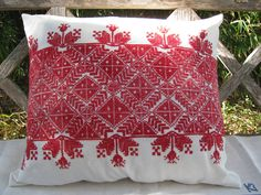 Antique Primitive Pillow Sham with red embroidery