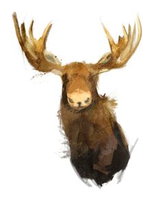 Nursery Art Moose / Original Illustration Art Print Wall Decor by Garillu Watercolor Animals, Watercolor Paintings, Watercolors, Moose Pictures, Wall Pictures, Woodland Creatures, Animal Paintings, Art Boards, Wall Art Prints