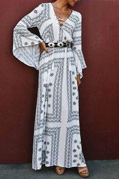 Ethnic Print V Neck Long Sleeve Maxi Dress