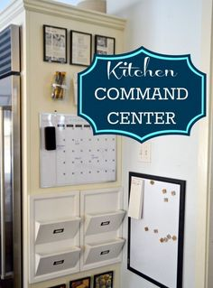 Charlotte from City Suburb Sanity created her Kitchen Command Center using a large area of unused space on the side of her refrigerator. She added stylish and functional glass jars to hold writing utensils.   #organizing #family #DIY