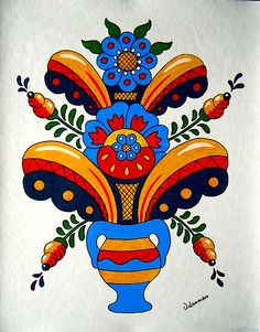 Dala Flower | by Viveca Lammers. These Kurbits patterns were developed in the area around Leksand in Dalarna in Sweden around 1800 and they have become symbolic for Sweden. http://swedishdalapaintings.blogspot.se/