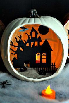 DIY shadowbox pumpkin.