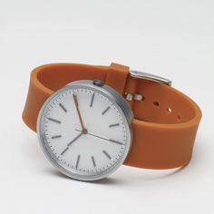 104 Series watch by Uniform Wares in orange/white. Available at Dezeen Watch Store: www.dezeenwatchstore.com #watches