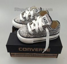 Silver, sparkles, baby's, shoes, converse