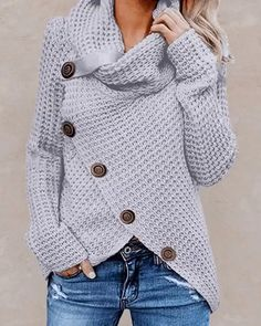 Looking for Women's Chunky Button Turtle Cowl Neck Asymmetric Hem Wrap Pullover Sweater ? Check out our picks for the Women's Chunky Button Turtle Cowl Neck Asymmetric Hem Wrap Pullover Sweater from the popular stores - all in one. Winter Sweaters, Long Sweaters, Pullover Sweaters, Sweaters For Women, Women's Cardigans, Jumper Shirt, Shirt Hoodies, Damen Sweatshirts, Shirt Men