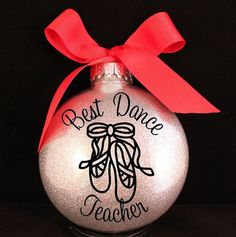 Best dance teacher personalized ornament my posh creations Dance Teacher Gifts, Dance Gifts, Teacher Christmas Gifts, Teacher Appreciation Gifts, Teacher Ornaments, Family Christmas Ornaments, Christmas Crafts, Christmas Presents, Christmas Ideas