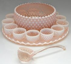 I love, love love this! Pink Milk Glass Punch Bowl