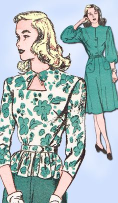 1940s Vintage Misses Peplum Dress 1946 Advance VTG Sewing Pattern 4344 Size 11