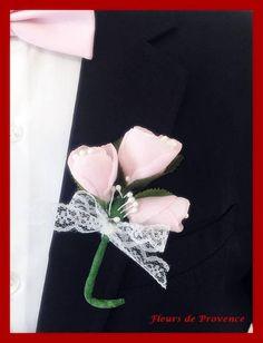 Boutonnière pour mariage  Rose fait main rose poudre et vert