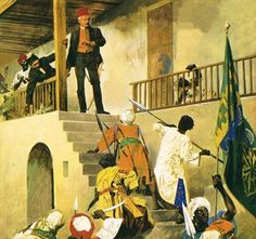 The manner of Gordon Pasha's death is uncertain but it was romanticized in a popular painting by George William Joy - General Gordon's Last Stand (1885, currently in the Leeds City Art Gallery), and again in the film Khartoum (1966) with Charlton Heston as Gordon.  Gordon was killed around dawn fighting the warriors of the Mahdi.  The Mahdi had given strict orders to his three Khalifas not to kill Gordon.