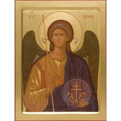 A handpainted icon of St Michael the Archangel. Commemorated every Monday and on November 8/21 (The Synaxis of Holy Archangel Michael and All Heavenly Hosts). Materials: natural wooden board (lime, pine, alder) with oak splines; cloth from low-count fabric (linen, canvas), gesso, tempera paints (ground minerals, precious and semiprecious stones mixed with egg yolk), gold leaf of various hues, tinted wax, linseed oil, hide glue, varnishes (mordant, kauri gum, acryl-styrolic). This icon ha...