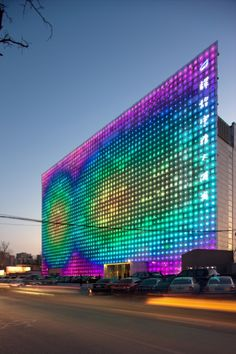 Greenpix Zero Energy Media Wall in Beijing - Self-sufficient organic system, harvesting solar energy by day and using it to illuminate the screen after dark, mirroring a day's climatic cycle.