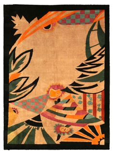 A Chinese Art Deco carpet BB4017 - A modern and unusual example from our collection of mid 20th century Chinese Art Deco carpets, the open beige field ...