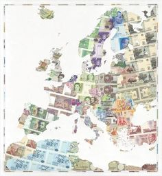 Europe Map Made From Old Currencies- TAKE ME BACK