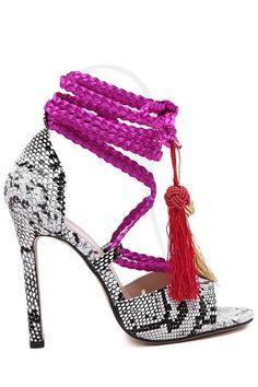Uau!!! Snake Print Tassels Weaving Sandals