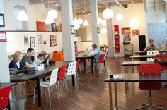 I'd work so well in a space like this...! This is the Candy Factory's coworking space