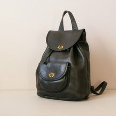 vintage 1960s COACH BLACK LEATHER BACKPACK by greatestfriend