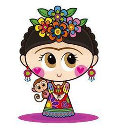 Crafts Rbs: You like Frida Kahlo - Best Nail Art Frida Kahlo Cartoon, Vintage Kiss, Mexican Party, Heart Art, Cool Nail Art, Fabric Painting, Cute Drawings, Folk Art, Chibi