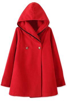Essential Fashion Women Hooded Woolen Cape - OASAP.com