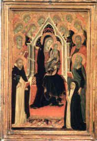 Bottega di Duccio di Buoninsegna - Madonna in trono col Bambino tempera e oro su tavola - II-III decennio XIV secolo - Museo «Amedeo Lia», La Spezia