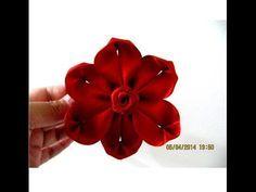 Flores kanzashi six petals flower kanzashi en cintas para el cabello - YouTube