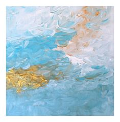 """Abstract Impressionistic Landscape Blue & Gold """"Summer Sky"""" Impasto Painting"""