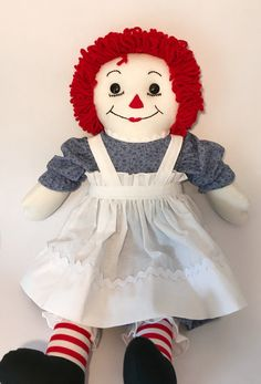 20 inch Raggedy Ann doll - new! Ann Doll, Raggedy Ann And Andy, Outfits With Hats, Beautiful Dresses, Dolls, Trending Outfits, Handmade Gifts, Etsy, Baby Dolls