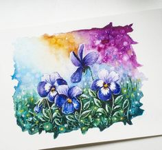 Watercolor nature  flowers Blue Art, Watercolor, Stars, Instagram Posts, Nature, Flowers, Painting, Pen And Wash, Blue Artwork