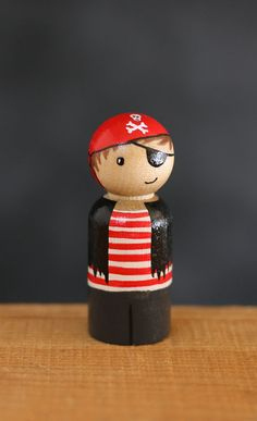 Pirate Boy Peg Doll - Hand-painted - Boy Dolls - halloween costume figurines - wooden toys - busy bags - dollhouse - READY TO SHIP