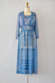 antique 1910s edwardian blue silk chiffon dress
