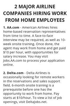 Jobs From Home Discover 2 Major Airline Companies Hiring Work From Home Employees - Wisdom Lives Here 2 Major Airline Companies Hiring Work From Home Employees - Wisdom Lives Here Earn Money From Home, Earn Money Online, Online Jobs, Way To Make Money, Legit Work From Home, Work From Home Jobs, Work For Hire, Companies Hiring, Work From Home Opportunities