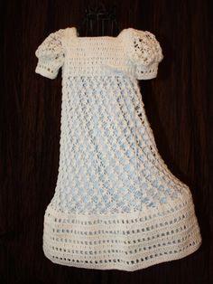 The Harper  Crochet Baby Dress Christening by OopsieDaisyDesigns, $120.00