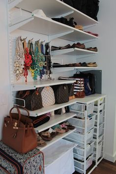I love this for so many reasons.. It's organized, I can see everything, and it looks like the Belk Wall on Project Runway.