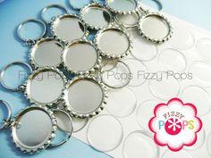 25 Bottle Cap Flat Key Chain KIT with Epoxy Stickers by fizzypops, $17.50