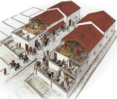 John Ronayne - A reconstruction of the late 2nd or early 3rd Century barracks at Chesters Roman Fort. The accommodation at Chesters was completely rebuilt for the Second Asturians, a cavalry unit originally raised in northern Spain, at this time - the heyday of all the forts in northern Britain.