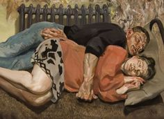 Lucian Freud Ib and her husband, Oil on canvas. 66 ¼ x 57 ¾ in.) Lucian Freud Family Portrait Heads Christie's Defining British Art Sale David Hockney, Sigmund Freud, Francis Bacon, Bella Freud, Lucian Freud Paintings, Antoine Bourdelle, People Sleeping, Sleeping Women, Artists And Models