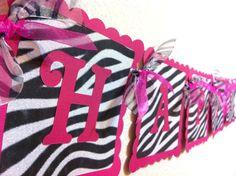 Zebra Hello Kitty  Birthday Banner.