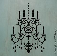 Chandelier Stencil with Extra Repeating Chain - WallMasque Stencil Company