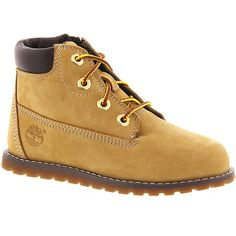Timberland Pokey Pine (Boys' Infant-Toddler) ($65) ❤ liked on Polyvore featuring shoes, wheat, leather footwear, leather shoes, genuine leather shoes, grip shoes and real leather shoes