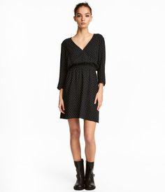 V-neck Dress   Black/white dotted   WOMEN   H&M US