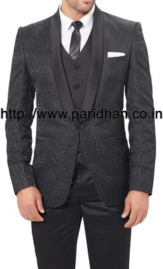 Attractive designer party wear suit made in black color polyester fabric. It has bottom as trouser.
