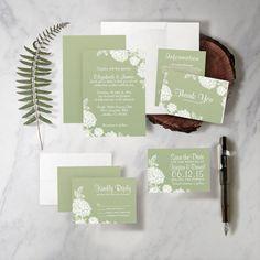 Modern Sage Green Wedding Invitation Set/Suite by InvitationSnob