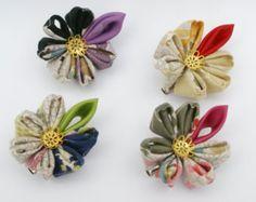 Items similar to Blue kanzashi-style hair clip on Etsy