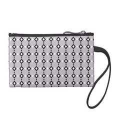Geometric Abstract Black & White Diamonds on Grey Coin Wallet - chic design idea diy elegant beautiful stylish modern exclusive trendy