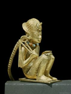 Tiny Solid Gold Statuette of Amenophis III Found the Tomb of Pharaoh Tutankhamun, Egypt