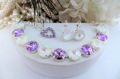 Enchanting, Swarovski 12mm Crystal Bracelet, Lavender Shimmer, White Shimmer, Adjustable, Silver, DKSJewelrydesigns, FREE SHIPPING
