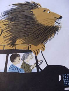 art, illustration, naive, car, figure, man, old woman, animal, lion, humor, //   th happy lions V 011 by Hazel Terry, via Flickr