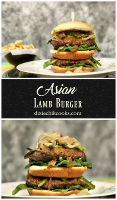 Asian Lamb Burger | topped with grilled asparagus, caramelized onions and a luscious ginger sauce! Heaven in your mouth! Burger Mania, My Burger, Burger Food, Lamb Burger Recipes, Gourmet Burgers, Cheeseburger Recipe, Pork Burgers, Homemade Burgers, Grilled Asparagus