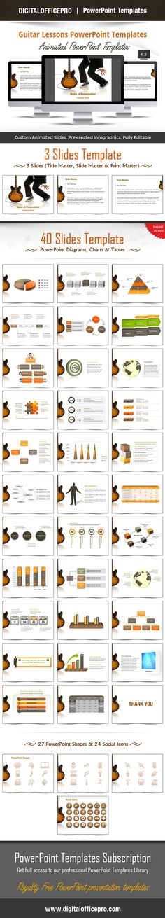 Impress and Engage your audience with Guitar Lessons PowerPoint Template and Guitar Lessons PowerPoint Backgrounds from DigitalOfficePro. Each template comes with a set of PowerPoint Diagrams, Charts & Shapes and are available for instant download.