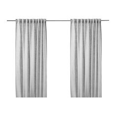 IKEA - AINA, Curtains, 1 pair, , The curtains lower the general light level and provide privacy by preventing people outside from seeing directly into the room.Linen gives the fabric a natural, irregular texture and makes it feel firm to the touch.The curtains can be used on a curtain rod or a curtain track.The heading tape makes it easy for you to create pleats using RIKTIG curtain hooks.You can hang the curtains on a curtain rod through the hidden tabs or with rings and hooks…